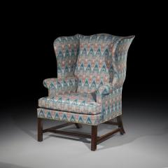 Thomas Chippendale Fine 18th Century English Chippendale Wingback Armchair in Flamestitch Fabric - 1078304