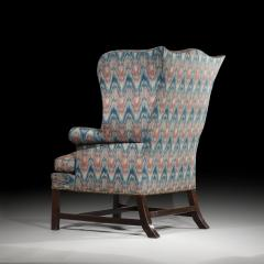 Thomas Chippendale Fine 18th Century English Chippendale Wingback Armchair in Flamestitch Fabric - 1078305