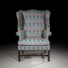 Thomas Chippendale Fine 18th Century English Chippendale Wingback Armchair in Flamestitch Fabric - 1078306