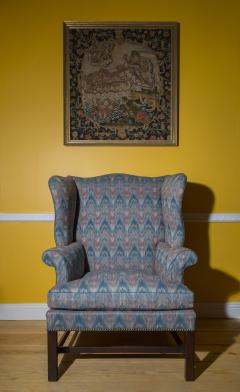 Thomas Chippendale Fine 18th Century English Chippendale Wingback Armchair in Flamestitch Fabric - 1078308