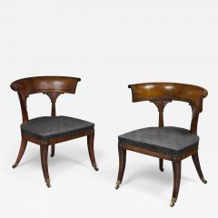 Thomas Hope Thomas Hope Pair of Regency Period Mahogany Library Klismos Chairs - 1188013