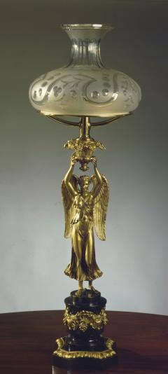 Thomas Messenger Sons Lacquered Brass Sinumbra Lamp with the Goddess Nike - 388684