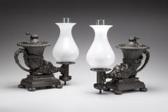Thomas Messenger Sons Pair Of Bronze Argand Lamps In The Form Of Anciet  Rhytons   384404