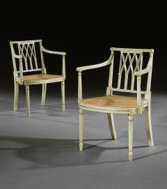 Thomas Sheraton Pair of Antique White and Gilt Painted Armchairs - 1155522