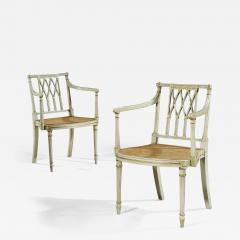 Thomas Sheraton Pair of Antique White and Gilt Painted Armchairs - 1155991