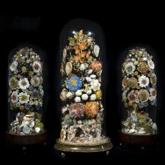 Three 19th Century Shellwork Flower Sculptures - 1214884