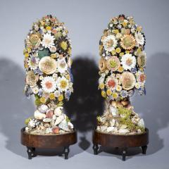 Three 19th Century Shellwork Flower Sculptures - 1214885