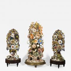 Three 19th Century Shellwork Flower Sculptures - 1217006