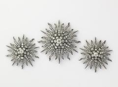 Three Antique Diamond Sunburst Brooches - 1367886
