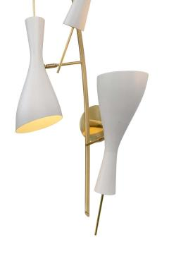 Three Brass and White Metal Shade Midcentury Style Sconces - 1256770