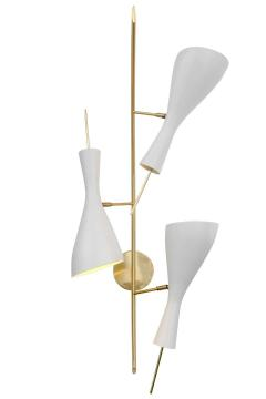Three Brass and White Metal Shade Midcentury Style Sconces - 1256771