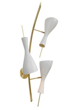 Three Brass and White Metal Shade Midcentury Style Sconces - 1256773