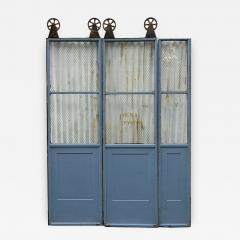 Three Door Sets of Vintage Commercial Metal Freight Elevator Doors - 243820 & Three Door Sets of Vintage Commercial Metal Freight Elevator Doors