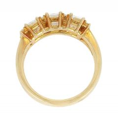 Three Emerald Cut Diamond Wedding Ring with Round Diamonds 18 Karat Yellow Gold - 1795358