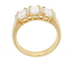 Three Emerald Cut Diamond Wedding Ring with Round Diamonds 18 Karat Yellow Gold - 1795359