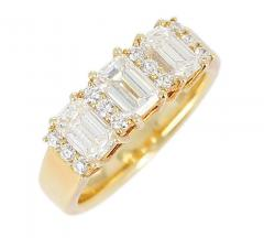 Three Emerald Cut Diamond Wedding Ring with Round Diamonds 18 Karat Yellow Gold - 1795360