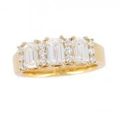 Three Emerald Cut Diamond Wedding Ring with Round Diamonds 18 Karat Yellow Gold - 1795361