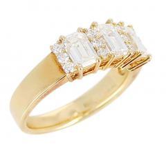 Three Emerald Cut Diamond Wedding Ring with Round Diamonds 18 Karat Yellow Gold - 1795364