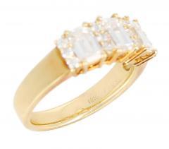 Three Emerald Cut Diamond Wedding Ring with Round Diamonds 18 Karat Yellow Gold - 1795371