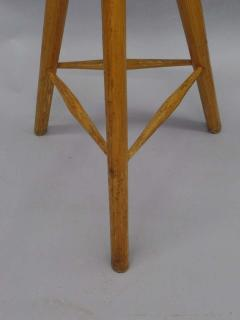 Three French Mid Century Modern Brutalist Style Wood Bar Stools - 1844451
