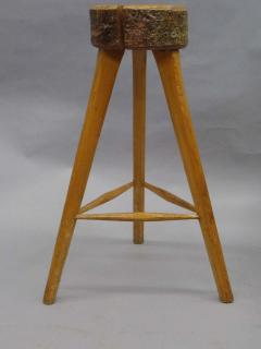 Three French Mid Century Modern Brutalist Style Wood Bar Stools - 1844452