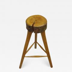 Three French Mid Century Modern Brutalist Style Wood Bar Stools - 1845819