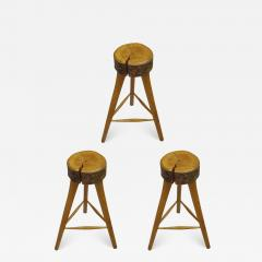 Three French Mid Century Modern Brutalist Style Wood Bar Stools - 1845820