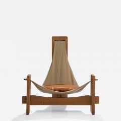 Three Legged Oak Sling Chair in Oak ca 1960 1970s - 1187622