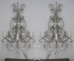 Three Light Crystal Beaded and Mirror Sconces Pair - 577488