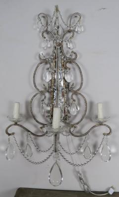 Three Light Crystal Beaded and Mirror Sconces Pair - 577489