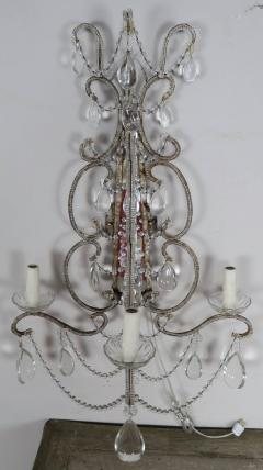 Three Light Crystal Beaded and Mirror Sconces Pair - 577491
