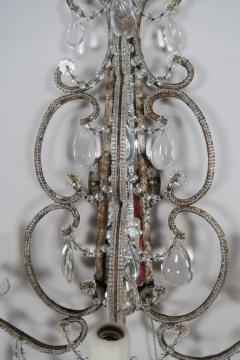 Three Light Crystal Beaded and Mirror Sconces Pair - 577493