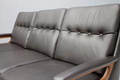 Three Seat Leather Sofa by Carl Straub Germany 1960s - 1297694