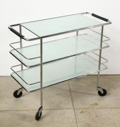 Three Tiered Chrome Glass and Leather Bar Cart - 1547776