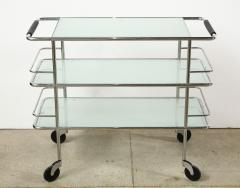 Three Tiered Chrome Glass and Leather Bar Cart - 1547777