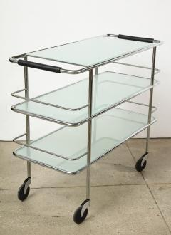 Three Tiered Chrome Glass and Leather Bar Cart - 1547779