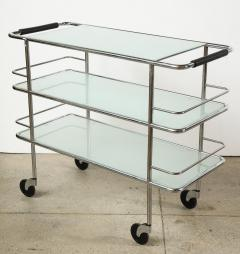 Three Tiered Chrome Glass and Leather Bar Cart - 1547780