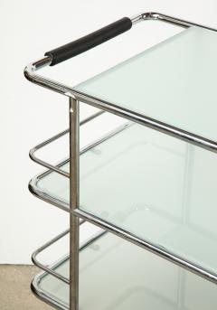 Three Tiered Chrome Glass and Leather Bar Cart - 1547781