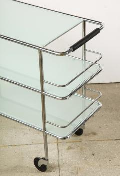 Three Tiered Chrome Glass and Leather Bar Cart - 1547782