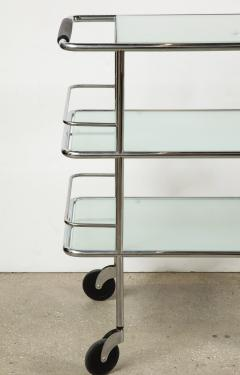 Three Tiered Chrome Glass and Leather Bar Cart - 1547783