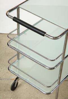 Three Tiered Chrome Glass and Leather Bar Cart - 1547784