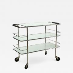 Three Tiered Chrome Glass and Leather Bar Cart - 1549219