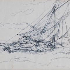 Three sketches on post cards by Montague Dawson RA - 822279