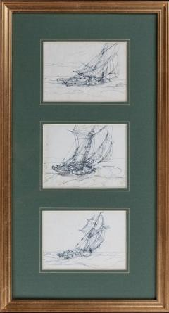Three sketches on post cards by Montague Dawson RA - 822281