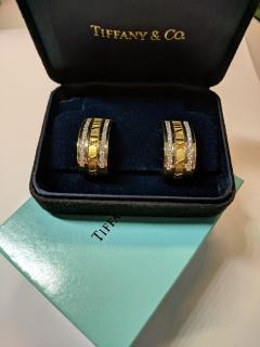 Tiffany Co Atlas Numeric Diamond Earrings in 18K Yellow Gold 1 6 CTW - 1286584