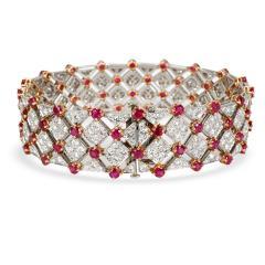 Tiffany Co Diamond Ruby Bracelet in 18K Yellow Gold Platinum 10 82 CTW - 1287751