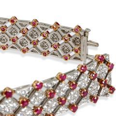Tiffany Co Diamond Ruby Bracelet in 18K Yellow Gold Platinum 10 82 CTW - 1287752