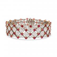 Tiffany Co Diamond Ruby Bracelet in 18K Yellow Gold Platinum 10 82 CTW - 1289315