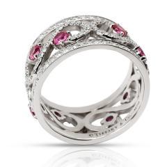 Tiffany Co Enchant Diamond Ruby Ring in 18K White Gold - 1284099