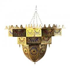 Tiffany Co Fashioned Brass and Colored Glass Chandelier a Pair - 1710471